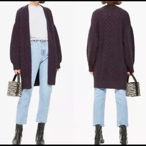 TOPSHOP Longline Cable Cardigan in Navy Sz 6